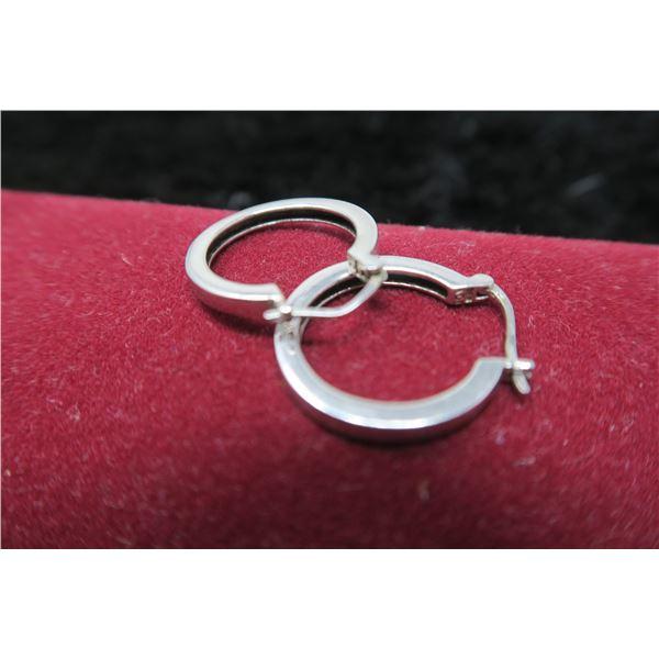 """Sterling silver hoop earrings, 1"""" diameter"""