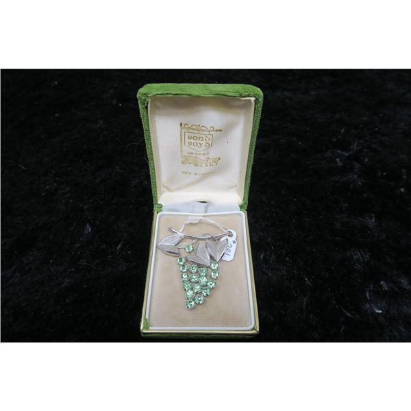 Boyd Bond Sterling/green rhinestones grape cluster broach, in original box