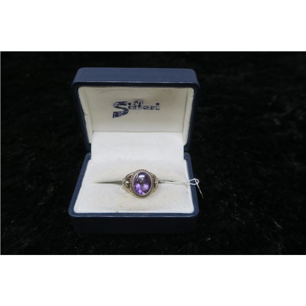Sterling Silver and amethyst ring, size 7