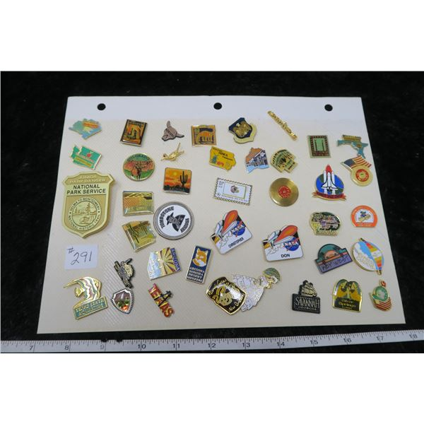 Card of USA lapel pins