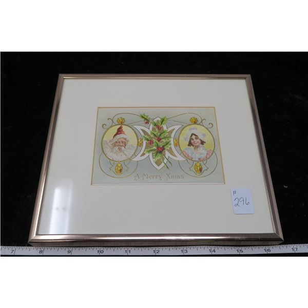 Matted and framed vintage Christmas post card