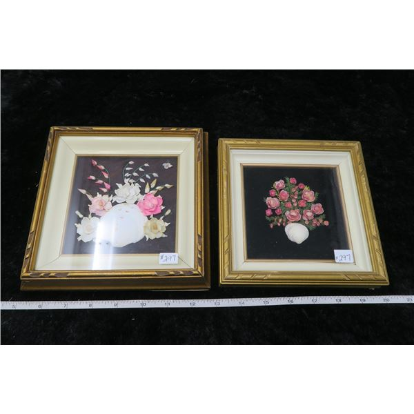 Pair of framed and matted Shellwork pictures