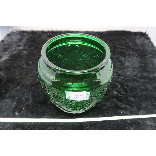 Sandwich pattern Forest Green vase, Anchor Hocking glass, 1939-64