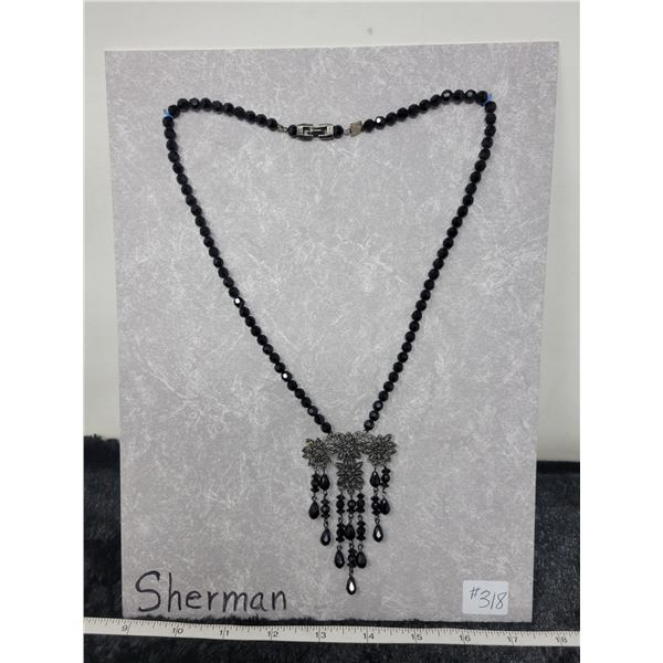 """Black crystal bead necklace, marked """"Sherman"""", 1960's"""