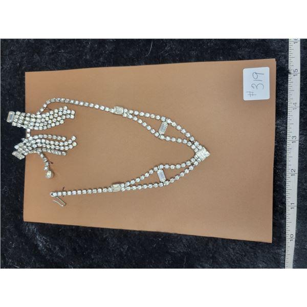 Rhinestone necklace and screw back chandelier earrings