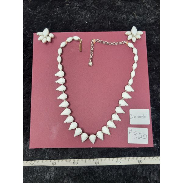 """Vintage white necklace and screw back earrings, marked """"Continental"""""""