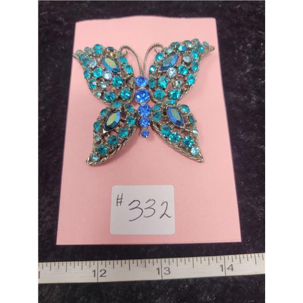"Blue tone rhinestones butterfly broach, 3""x2"""