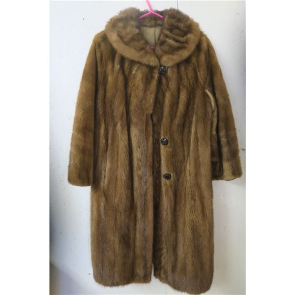 "Fur coat, labelled ""Western Furs, Regina"", large, good condition"