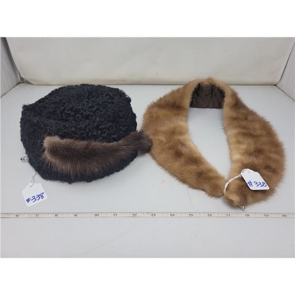 Mouton hat with fur trim and fox collar