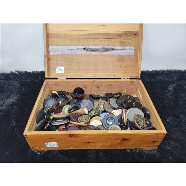 Cedar box of vintage buttons