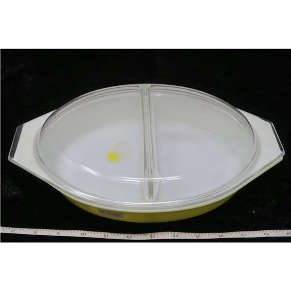 Divided Yellow Pyrex Dish 1.5 litre with lid