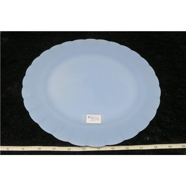"Pyrex delphite blue plate 11 ½"""