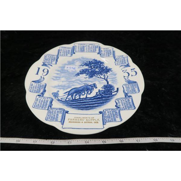 Advertising calender plate, Farmer's Supply, Henribourg & Shipman, 1935