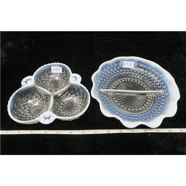 Opalescent moonstone relish and pickle dishes (2)