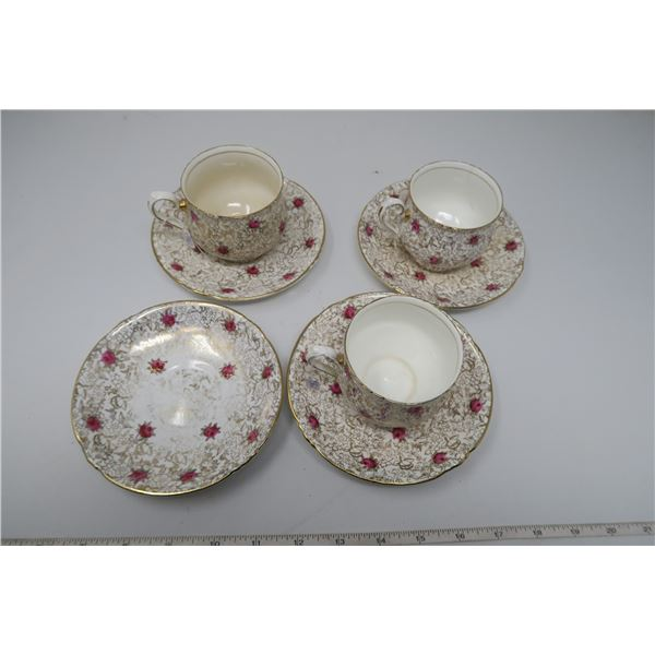 Chintz cups and saucers (3), Golden Roses pattern, Phoenix bone china, England