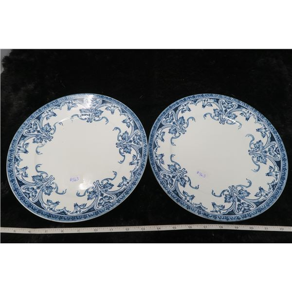 """Flow blue dinner plates, 10"""", Davenport by Colonial Pottery, Stoke, England"""
