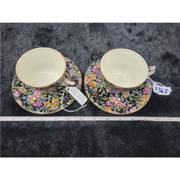 Chintz cups and saucers, Nantwich pattern, Royal Winton, England (2 cups, 2 saucers)