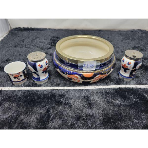 Decorative bowl and condiment set, Staffordshire decoration