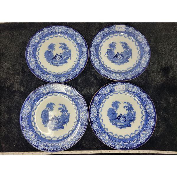 "Blue and white porcelain dessert plates, 7"", Doulton, England (4)"