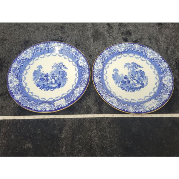 """Blue and white porcelain lunch plates, 9"""", Doulton, England (2)"""