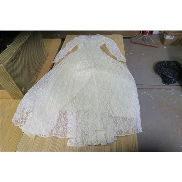 Vintage white lace dress, 1960's in cardboard box