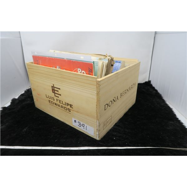 Wood wine box with miscellaneous manuals