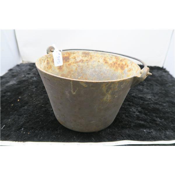 "Cast iron pot, 8 ½"" across, very small hole in bottom center, 3 legs"