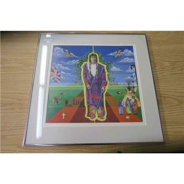 """Framed print, 24""""x23"""", """"Almightyvoice"""" by Ray Keighley, artist signed, 5/500"""