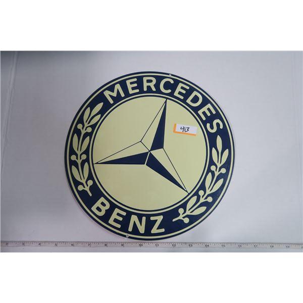 """Tin Sign Circle 10.5"""" Diameter """"Mercedes"""""""