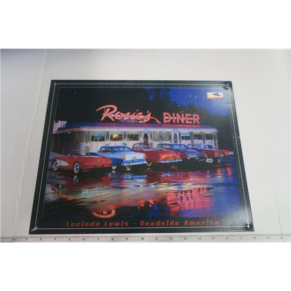 "Tin Sign 12X15 ""Rosie's Diner, Lucinda Lewis - Roadside America"""