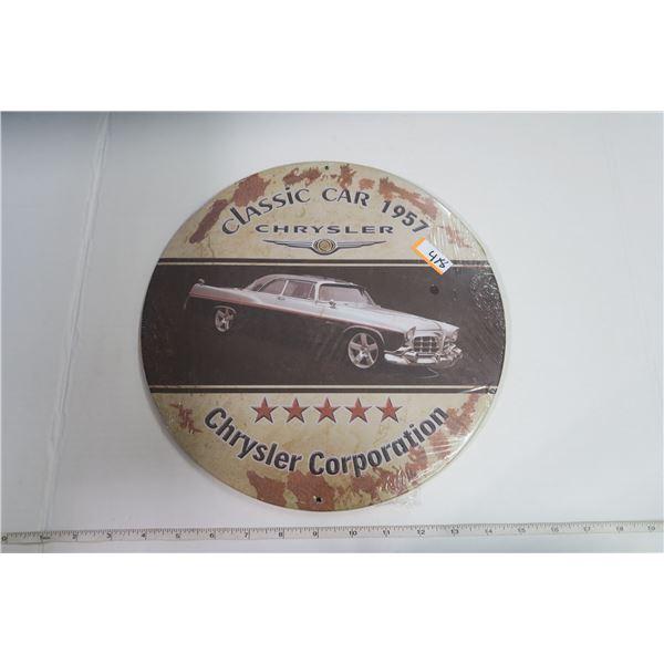 """Tin Sign Circle 12"""" Diameter """"Classic Car Chrysler"""""""