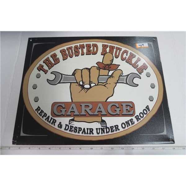 """Tin Sign 12X16 """"The Busted Knuckle Garage"""""""