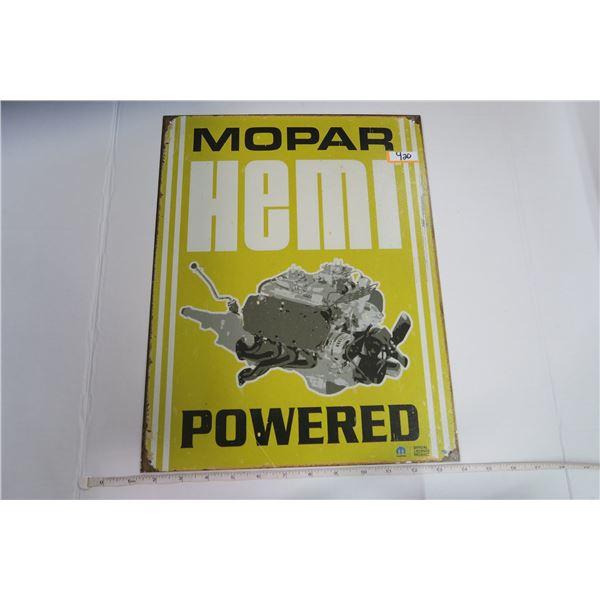 "Tin Sign 12X16 ""MOPAR Hemi Powered"""