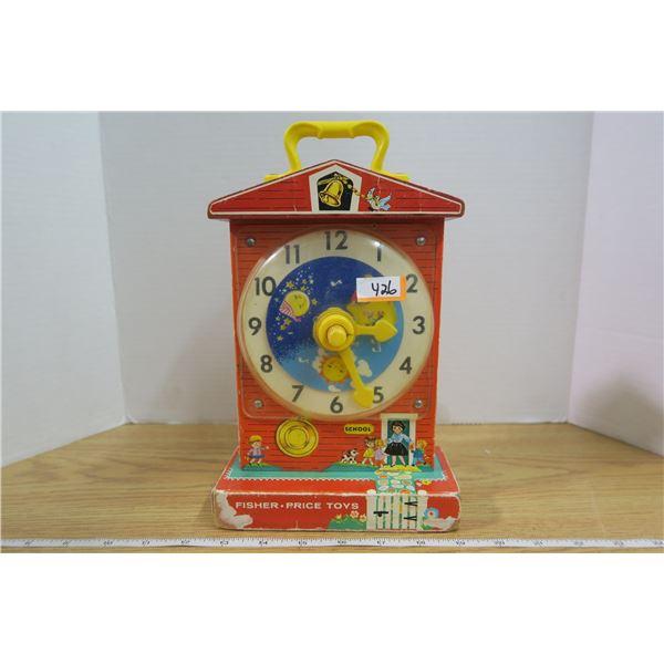 62 '68 Fisher Price Music Box Teaching Clock in working condition