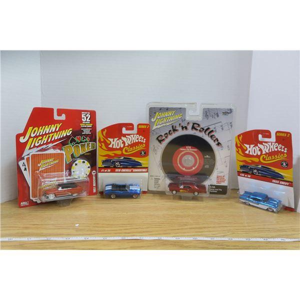 2 Hot Wheels Classics and 2 Johnny Lightning
