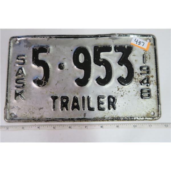 Sask 1948 Trailer Plate 5-953