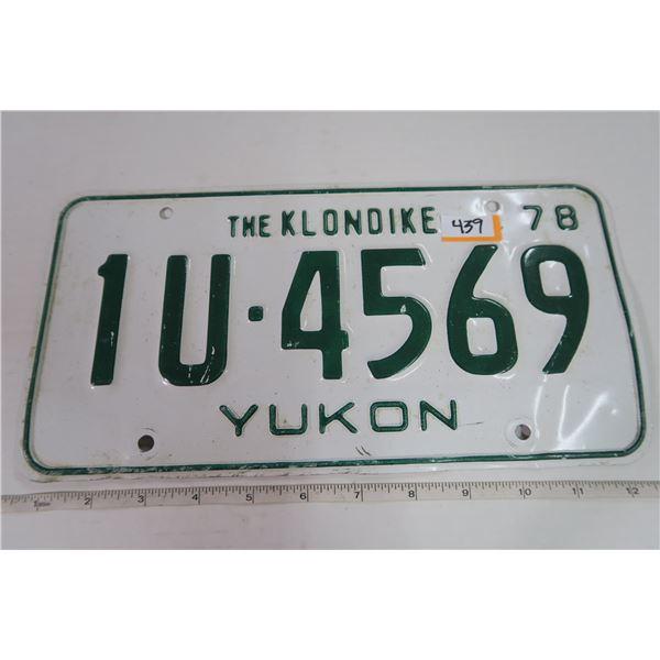 1978 Yukon Plate 1U-4569