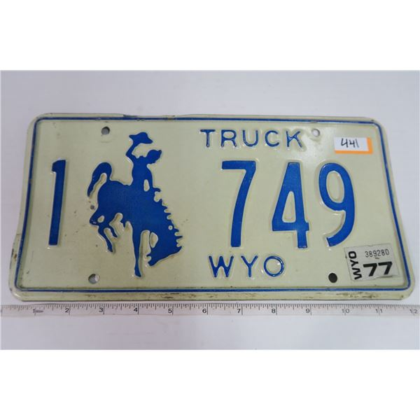 Wyoming 1977 Truck Plate 1-749