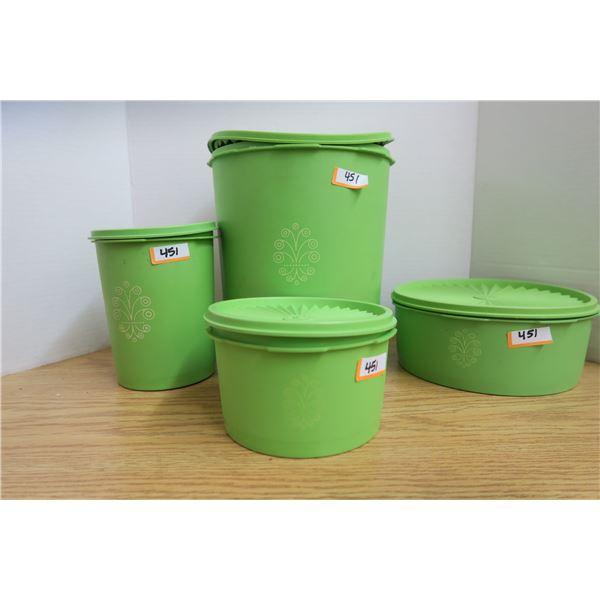 4 Piece Vintage Green Tupperware