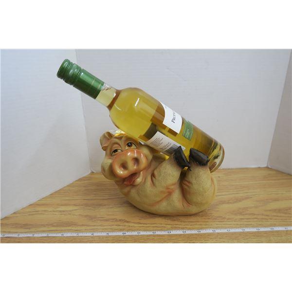 Wine Bottle Golder - Pig with Bottle