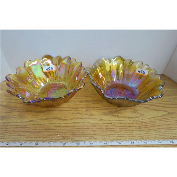 2 Antique Carnival Glass Iridecent Amber Bowls