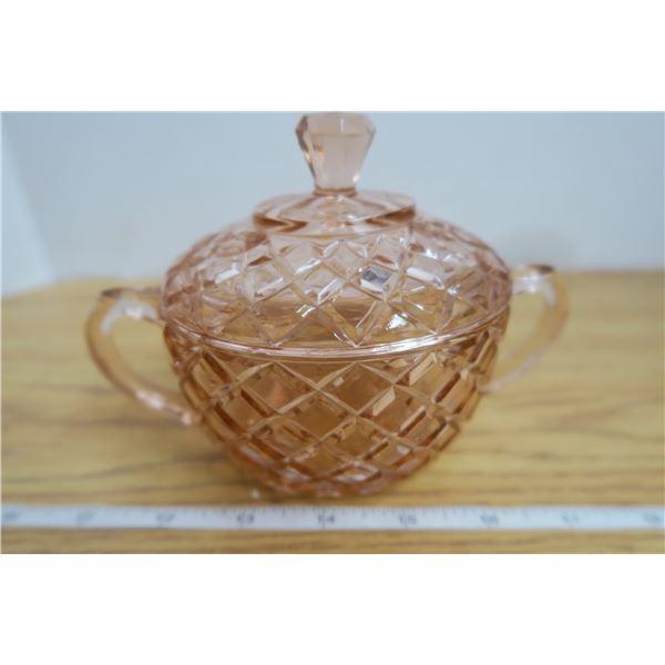 Vintage Pink Glass Diamond Patterns Double Handle Liddded Sugar Bowl