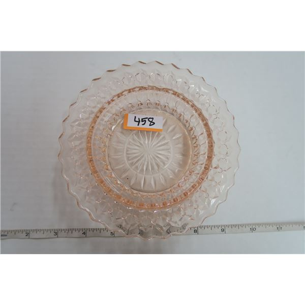 Pink Depression Glass Button Bows Hole dish