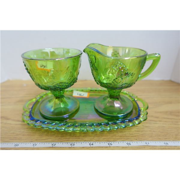 Green Indiana Carnival Glass  Cream and Sugar set with Tray