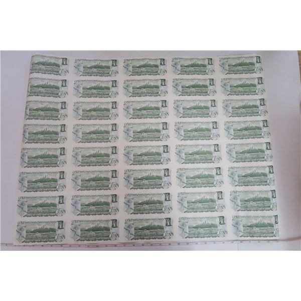Vintage 1973 Uncut Sheet of Canadian $1 Bills