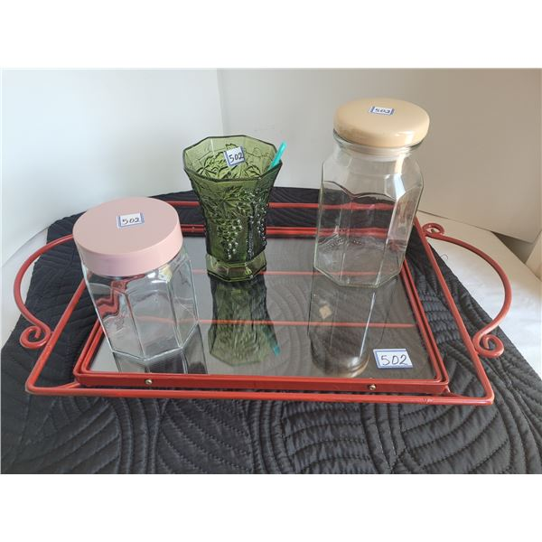 Heavy welded metal & double glass tray drink, candy bar.