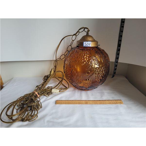 Vintage amber swag lamp.