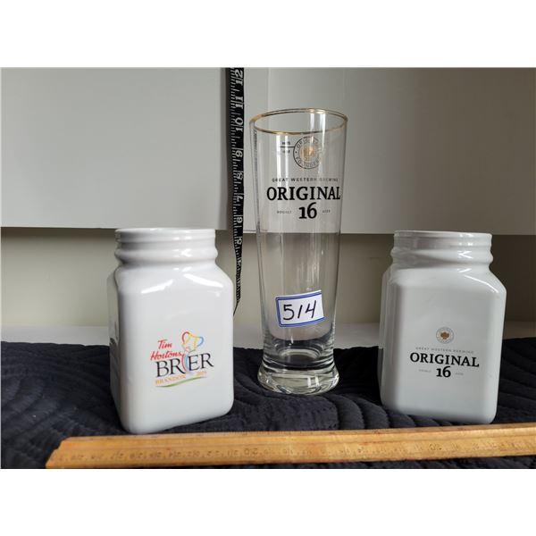 Original 16 Tim Horton's 2019 Brier mugs & 20oz. Beer glass.