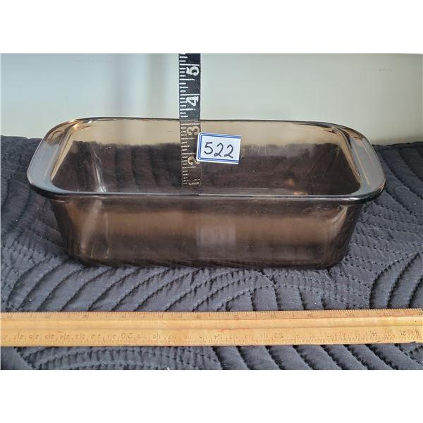 Amber brown Pyrex loaf pan.