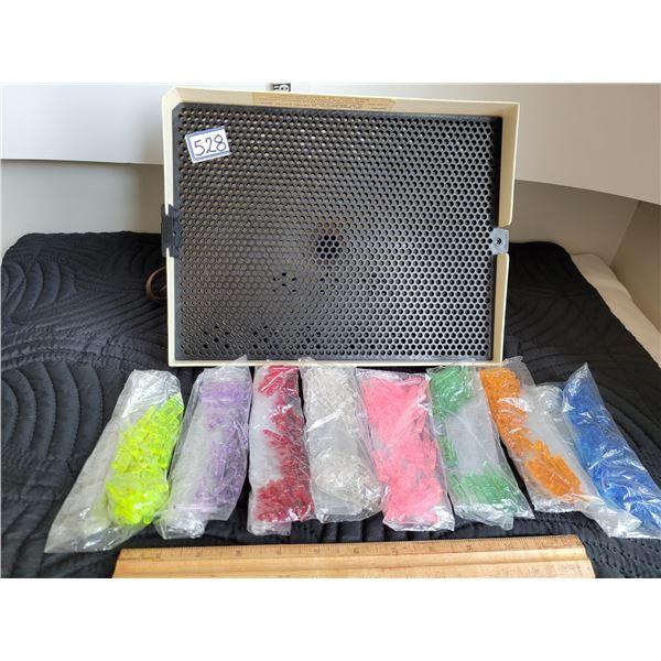 Original midcentury Lite-brite and colored pegs.